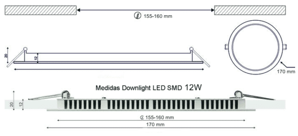 Dimensiones Downlight LED SMD 12W 170mm