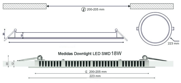 Dimensiones Downlight LED SMD 18W 223mm