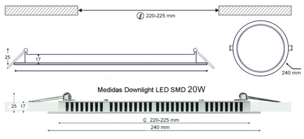 Dimensiones Downlight LED SMD 20W 240mm