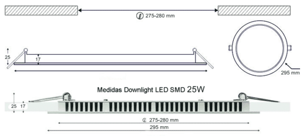 Dimensiones Downlight LED SMD 25W 295mm